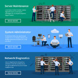 IT Administrator Horizontal Banners. With network engineers working in server room for hardware diagnostic flat vector illustration Stock Images