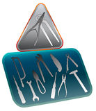 Administrator icon with tools. Warning triangle icon with pliers Royalty Free Stock Image
