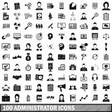 100 administrator icons set, simple style. 100 administrator icons set in simple style for any design vector illustration Royalty Free Stock Photography