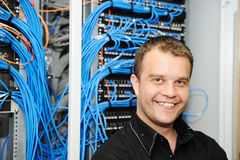 Administrator at server room Royalty Free Stock Photography