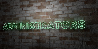 ADMINISTRATORS - Glowing Neon Sign on stonework wall - 3D rendered royalty free stock illustration Stock Photos