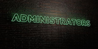 ADMINISTRATORS -Realistic Neon Sign on Brick Wall background - 3D rendered royalty free stock image Stock Photo