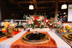 Admirable prepeared in italian style banquet table Royalty Free Stock Photo