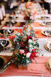 Admirable prepeared in italian style banquet table Royalty Free Stock Images