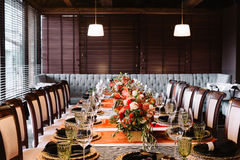 Admirable prepeared in italian style banquet table Royalty Free Stock Photography