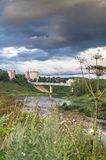 Admirable view of the evening sky over the Volga river and its picturesque shores. Russian provincial town Rzhev. Stock Photo