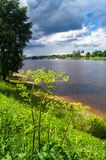 Admirable view of the stormy sky over the Volga river and its picturesque shores. Russia regional center, the city of Tver. Royalty Free Stock Photos