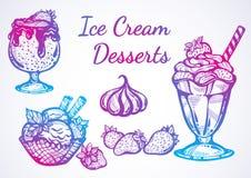 Admirablement collection tirée par la main de desserts de crème glacée  Icônes de graphique de vecteur, éléments d'ensemble de no illustration de vecteur