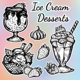 Admirablement collection tirée par la main de desserts de crème glacée  Icônes de graphique de vecteur, éléments d'ensemble de no illustration libre de droits