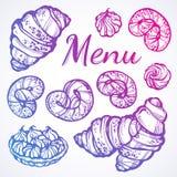 Admirablement collection tirée par la main de desserts Dirigez les icônes de boulangerie, éléments de nourriture de vintage dans  illustration de vecteur