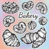 Admirablement collection tirée par la main de petits pains Dirigez les icônes de boulangerie, éléments de nourriture de vintage d illustration stock