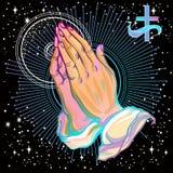 A admirablement détaillé les mains humaines pliées dans la prière Appel à Dieu Foi et espoir Motifs religieux Illustration de vec illustration de vecteur