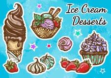 Admirablement ensemble tiré par la main d'icône de dessert de crème glacée  Rétro illustration de style, éléments de nourriture d illustration de vecteur