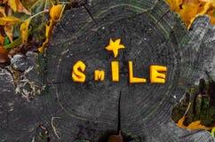A admirablement présenté le potiron de mot, sourire d'automne Photo stock