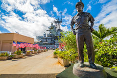 Admiral Chester Nimitz. HONOLULU, OAHU, HAWAII, USA - AUGUST 21, 2016: bronze statue of Admiral Chester W. Nimitz at battleship USS Missouri in Pearl Harbor stock photos