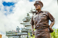 Admiral Chester Nimitz portrait. HONOLULU, OAHU, HAWAII, USA - AUGUST 21, 2016: statue portrait of Admiral Chester W. Nimitz, represented the United States stock photos