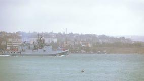 Admiral Grigorovich - multipurpose frigate project far sea zone. RUSSIA, SEVASTOPOL, OCTOBER, 2016: Admiral Grigorovich - multipurpose frigate project far sea stock footage