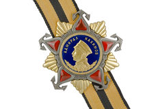 Admiral Nakhimov Order of I degree. Admiral Nakhimov Order of I degree on the ribbon, cut out on a white background stock photography