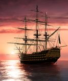 Admiral Nelson Flagship HMS Victory at sailing into the sunset stock illustration