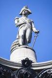 Admiral Nelson Statue auf Nelsons Spalte in London Lizenzfreies Stockfoto