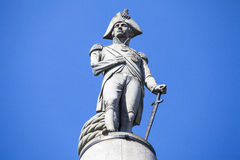 Admiral Nelson Statue on Nelson's Column in London Stock Photography