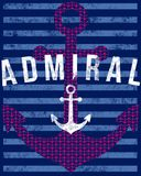 Admiral text on anchor graphic Royalty Free Stock Photography