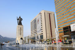 Admiral Yi Sun-Shin monument. Admiral Yi Sun-Shin monument decorated with the fountain. Gwanghwamun, Seoul, South Korea. / 2 April 2016 Stock Images
