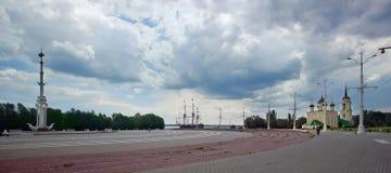 Admiralicja kwadrat - bulwar Voronezh z muzeum i Obraz Royalty Free