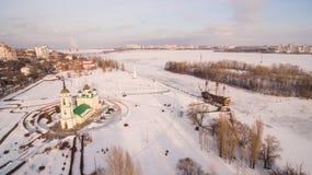 Admiralicja kwadrat i zabytek pierwszy statek budowaliśmy w Rosja w Voronezh przy zimy widok z lotu ptaka Zdjęcie Royalty Free