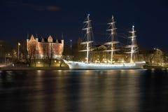Admiralitäts-Haus und der af-ambulante Händler versenden, Stockholm Lizenzfreies Stockbild