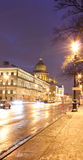 Admiralteisky prospect, Saint-Petersburg, Russia. Admiralteisky prospect, Night Saint-Petersburg, street of St. Petersburg, st. Isaac's cathedral Royalty Free Stock Image