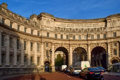 Admiralty Arch - London, UK. Admiralty Arch near Trafalgar Square, standing on the Mall Street connecting Trafalgar Square with Buckingham Palace. Great Britain Stock Image