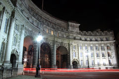 Admiralty Arch at night with light trails Royalty Free Stock Photo