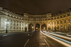 Admiralty Arch at night with light trails Royalty Free Stock Photos