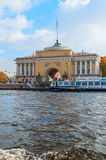 Admiralty arch on the quay of Neva river in St Petersburg, Russia - architecture landmark of St Petersburg in autumn day. ST PETERSBURG,RUSSIA-OCTOBER 3, 2016 Stock Photography