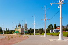 The Admiralty area in the city of Voronezh. Kind on the Admiralty area and Preobrazhenskiy church of the city of Voronezh, Russia photographed in solar weather Stock Photo