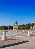 The Admiralty area in the city of Voronezh. Kind on the Admiralty area and Preobrazhenskiy church of the city of Voronezh, Russia photographed in solar weather Royalty Free Stock Photography