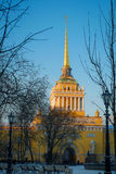 Admiralty as symbol of Petersburg in winter evening Stock Photography