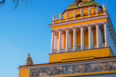 Admiralty as symbol of Petersburg in winter evening Royalty Free Stock Photography