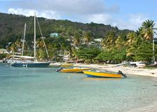 Admiralty Bay. Boats and the beach in Admiralty Bay, Bequia Royalty Free Stock Photography
