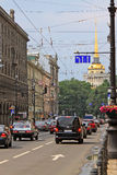 Admiralty building and Nevsky prospect in Saint Petersburg. Russ Royalty Free Stock Images