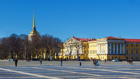 The Admiralty Building at the Palace Square in Saint Petersburg. View of the Admiralty Building and Palace Square on the sunny day . Saint Petersburg. Russia Stock Images