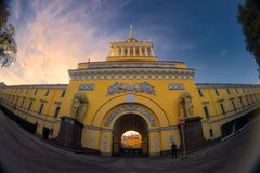 Admiralty building, Saint Petersburg, Russia. Fish eye lens creating a super wide angle view stock photo