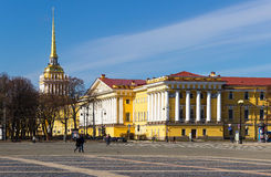 The Admiralty Building in Saint Petersburg. View of the Admiralty Building at the  Palace Square . Saint Petersburg. Russia Stock Photos