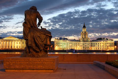 Admiralty Embankment, Saint Petersburg, Russia. Sunset scene from the Admiralty Embankment in Saint Petersburg, Russia with a famous statue and a beautiful view Royalty Free Stock Photo
