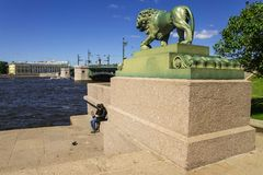 Admiralty Embankment in St. Petersburg, Russia Royalty Free Stock Photography
