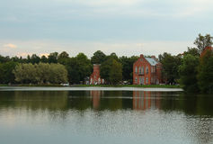Admiralty on the Great Pond. Buildings of the Admiralty, Catherine Park, Tsarskoye Selo (Pushkin), Russia Stock Photo