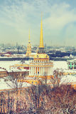 Admiralty , Hermitage , Peter and Paul Fortress in winter. View from St. Isaac's Cathedral, St. Petersburg, Russia Stock Photos