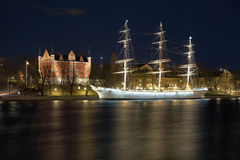 Admiralty House and the af Chapman Ship, Stockholm Royalty Free Stock Image