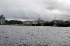 Admiralty and Palace Bridge. SAINT-PETERSBURG, RUSSIA - June, 2015: View from the embankment of the Admiralty and Palace Bridge. St. Petersburg city, Russia Royalty Free Stock Image